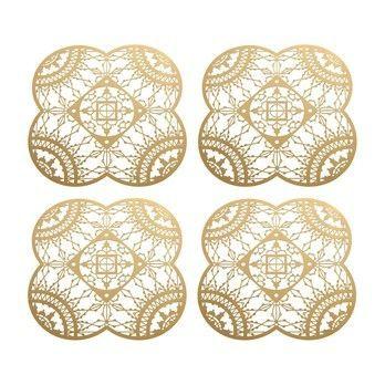 Driade - Italic Lace Petal Coaster Untersetzer 4tlg. - gold/4 Stück/LxB 10x10cm