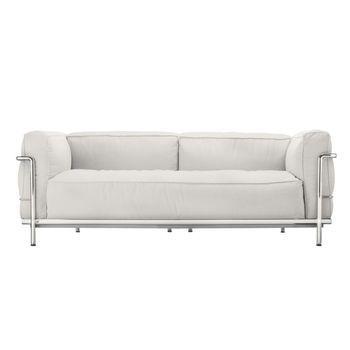 Cassina - Le Corbusier LC3 Outdoor Sofa - snow weiß Sunbrella Sling/Gestell Stahl glänzend gebürstet