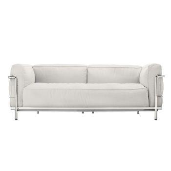 Cassina - Le Corbusier LC3 Outdoor Sofa - snow weiß/Stoff Outdoor Sunbrella Sling/Gestell Stahl glänzend gebürstet/168x62x99cm