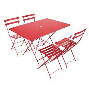 Fermob - Bistro Garten-Set 4 Stühle - mohnrot/Tisch 117x77cm