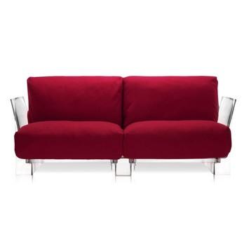Kartell - Pop Zweisitzer - rot/Baumwolle/Gestell transparent/175x70x94cm