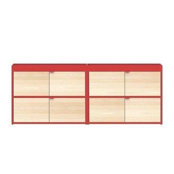 HAY - New Order Sideboard mit Türen 200x79.5cm - rot/esche/lackiert/mit 4 Holztüren