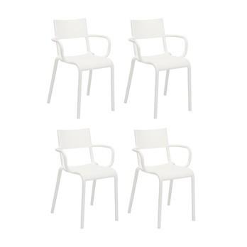 Kartell - Generic A Armlehnstuhl 4er Set - weiß/52.5x79x52cm