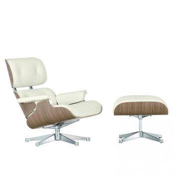 Vitra - Eames Lounge Chair XL neue Maße & Ottoman - Leder Premium snow weiß/Schale walnuss weiß pigm./Gestell poliert/Ottoman: 63x56x42cm