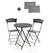 Fermob - 2 Bagatelle Stühle + 1 Bistro Tisch - lakritz schwarz/lackiert/Tisch rund ø60cm/inkl. 2 Sitzkissen grau