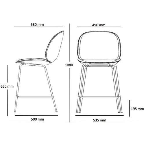 Gubi - Beetle Counter Chair Barhocker Schwarz 108cm - Strichzeichnung