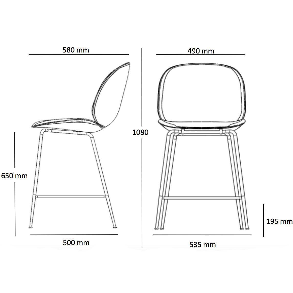 Beetle Counter Chair Black Base 108cm Gubi Stools