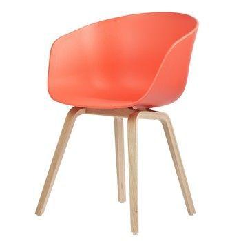 HAY - About a Chair 22 Armlehnstuhl Colour - rot/Gestell Eiche geseift/mit Kunststoffgleitern