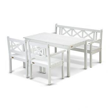 Skagerak - Skagen Garten-Set 4tlg. - weiß lackiert/Eukalyptusholz/1 Tisch, 1 Gartenbank, 2 Gartenstühle