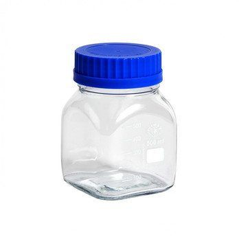 HAY - HAY Kitchen Market Glasbehälter mit Messskala - transparent/blau/hitzebeständig/LxBxH 9.5x9.5x14cm