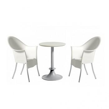 Driade - Lord Yi + Yo Set aus 1 Tisch + 2 Stühlen - Stühle weiß/Tisch elfenbein/Kunststoff / Polypropylen/2 Stühle + 1 Tisch