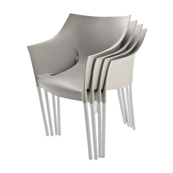 Kartell - Dr. No Stuhl 4er Set (gleiche Farbe) - mittelgrau/Polypropylen/Gestell aluminium