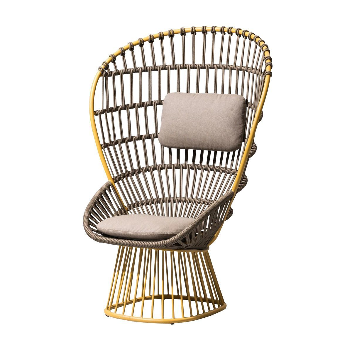 Kettal   Cala Armchair Frame Aluminium Round   Yellow/grey/seat U0026 Head Rest