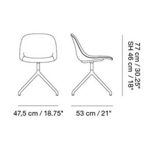 Muuto - Fiber Side Chair Drehstuhl gepolstert - Strichzeichnung