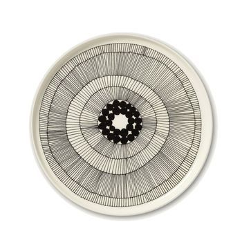 Marimekko - Marimekko Oiva Siirtolapuutarha Teller  - schwarz/weiß/Ø: 25cm