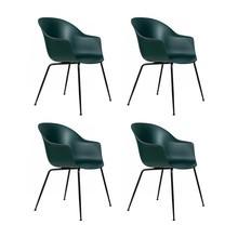 Gubi - Set de 4 chaise avec accoudoirs Bat structure noire