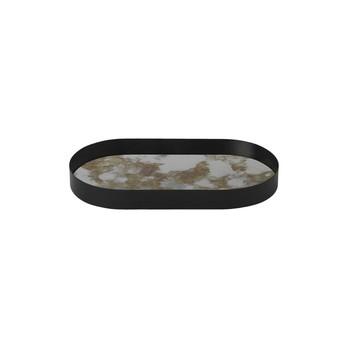 ferm LIVING - ferm LIVING Coupled Tablett oval 3284 - moosgrün/schwarz/Gestell Metall pulverbeschichtet/LxBxH 30x16x3.2cm
