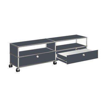 USM Haller - USM TV/Hi-Fi Sideboard mit 2 Schubladen unten - anthrazitgrau RAL 7016/152x37x43cm/mit Rollen