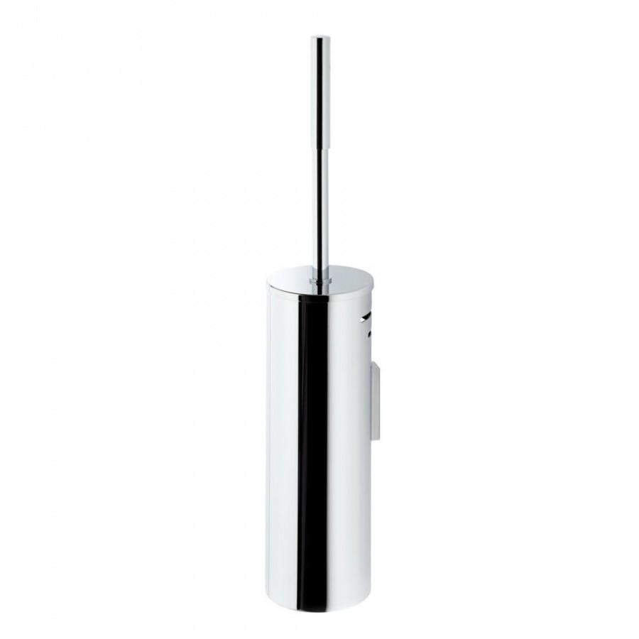 Bathroom Toilet Brush Holder Silver Chrome Wall Mountable Stylish Discreet