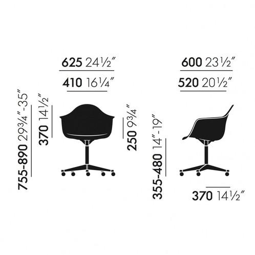 Vitra - Eames Plastic Armchair PACC Bürostuhl - Strichzeichnung