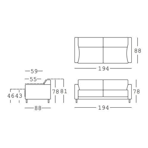 freistil Rolf Benz - freistil 141 3-Sitzer Sofa Gestell Chrom - Strichzeichnung