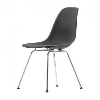 Vitra - Eames Plastic Side Chair DSX Stuhl H43cm - basic dark schwarz/Gestell Chrom/neue Höhe