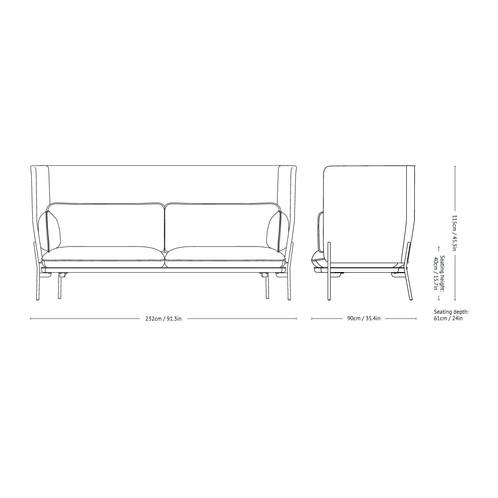 &tradition - Cloud High Back LN7 Sofa mit hohem Rücken - Strichzeichnung