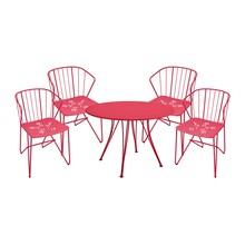 Fermob - Rendez-vous Flower Set 4 Armlehnstühle+1Tisch