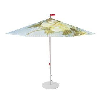 - Bouqetteketet Set Sonnenschirm + Ständer - hellblau/gemustert/Ø350cm / H 265cm/Schirmständer hellgrau/Ø70cm/25kg