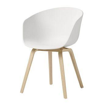 HAY - About a Chair Armlehnstuhl - weiß/Gestell Eiche geseift