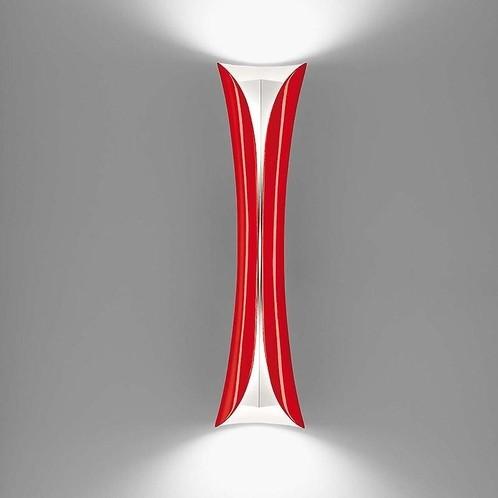 Artemide - Cadmo LED Parete Wandleuchte - rot/weiß/Stahl/lackiert/3000K/LxBxH 13x13x76cm