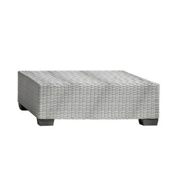 Gervasoni - InOut 514 Polyrattan Outdoor-Beistelltisch - weiß/hellgrau/Flechtwerk aus Kunststoff/Gestell aus Aluminium/85x85x30 cm
