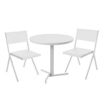 emu - Mia Gartenset - weiß/pulverbeschichtet/2 Stühle : BxHxT 49x78x52cm/Tisch: H 74cm, Ø 80cm
