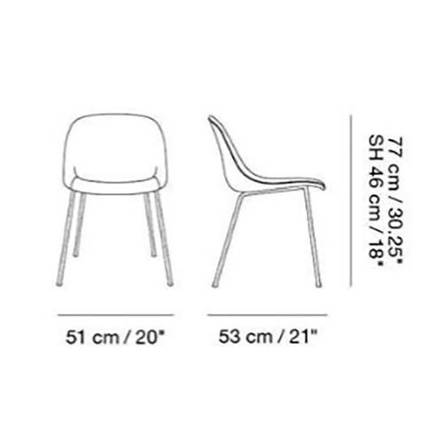 Muuto - Fiber Chair Stuhl gepolstert mit Rohrgestell - Strichzeichnung