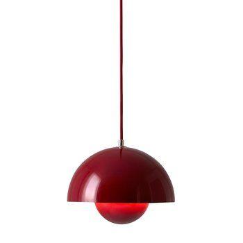 &tradition - Flower Pot VP1 Pendelleuchte - tiefes rot/glänzend/Kabel tiefes rot/H 16cm/Ø 23cm