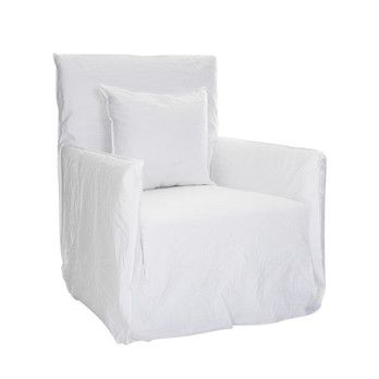 Gervasoni - Ghost 04 Armchair - white /incl. 1 cushion/fabric Lino bianco