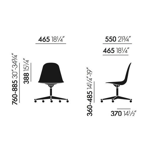 Vitra - Eames Plastic Side Chair PSCC Bürostuhl - Strichzeichnung