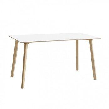 - Copenhague Deux CPH 210 Tisch 140x75cm - perlweiß/Laminat/Gestell Buche unbehandelt/H 73cm