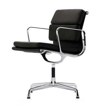 Vitra - EA 208 Soft Pad Eames Alu Chair Bürostuhl - Leder nero schwarz/Gestell aluminium poliert/mit Filzgleitern