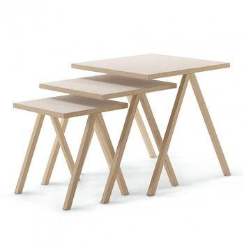 Cappellini - Hiip Beistelltisch-Set - weiß gebeizte Esche/3 Tische mit unterschiedlichen Größen