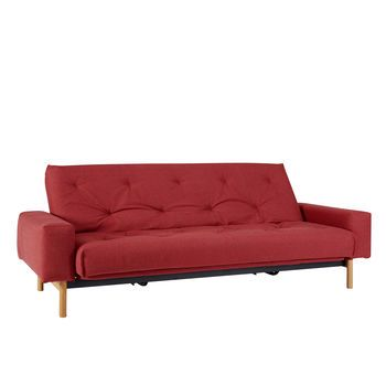 Innovation - Mimer Klappsofa  - dunkelrot/Stoff 561 Rust Red/Liegefläche 140x200cm/Gestell schwarz/Beine Eiche