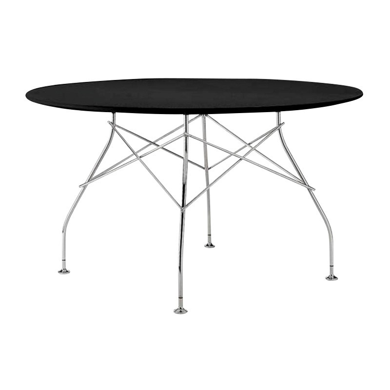 ... Kartell   Glossy Dining Table Round Frame Silver   Black / HxØ  72x130cm/polyester ...