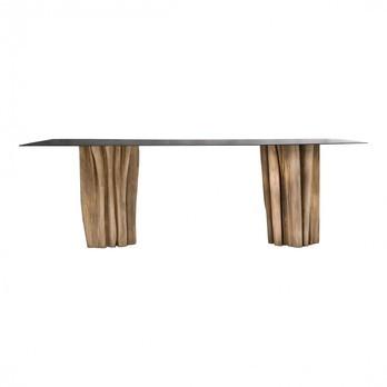 Gervasoni - Brick Esstisch - Platte Stahl/Gestell natur/abgerindet und handgeschnitzt/Größe 2/240x100cm