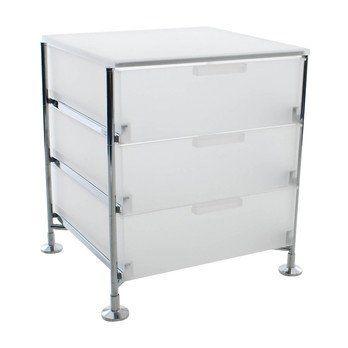 Kartell - Mobil 3 Container mit Füßen - eisfarben/opal/Gestell chrom