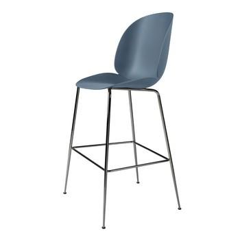 Gubi - Beetle Bar Chair Barhocker Chrom 118cm - blau grau/Sitz Polypropylen-Kunststoff/BxHxT 56x118x58cm/Gestell Schwarzes Chrom
