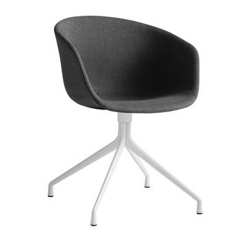 HAY - About a Chair 21 Armlehndrehstuhl gepolstert - asche/Stoff Remix 183/Gestell weiß pulverbeschichtet/mit Kunststoffgleitern