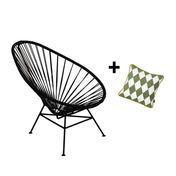 OK Design - Set Promo Acapulco Mini Chair + Coussin - noir/coussin : 30x30cm motifs vert olive-blanc/motifs noirs au verso