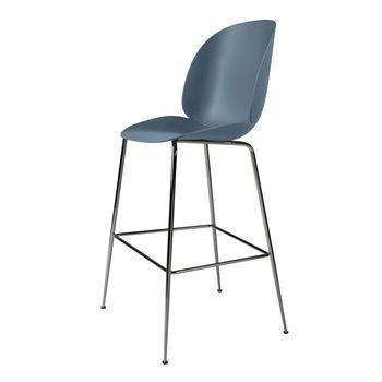 Gubi - Beetle Bar Chair Barhocker Chrom 118cm - blau grau/BxHxT 56x118x58cm/Gestell Schwarzes Chrom