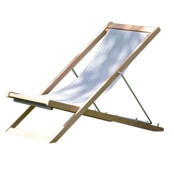 Jan Kurtz - Nizza Deckchair Liegestuhl - weiß/Bezug Batyline/BxHxT 52x86x58cm/Gestell fsc-zertifiziertes Teak