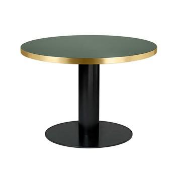 Gubi - Gubi 2.0 Dining Table Tisch Gestell schwarz Ø110cm - Flaschengrün/Tischplatte Glas/H 74,5cm, Ø 110cm/Gestell schwarz: pulverbeschichtet